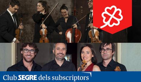 El Quartet Teixidor i el Quartet Altamira ens oferiran un concert conjunt on ens interpretaran, entre altres, l'Octet de Mendelssohn.