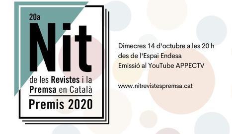 La Nit de les Revistes i la Premsa en Català se celebrarà 'online' el proper 14 d'octubre