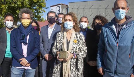 Capella al Tarròs amb la placa que s'instal·larà a Barcelona en record de Companys.