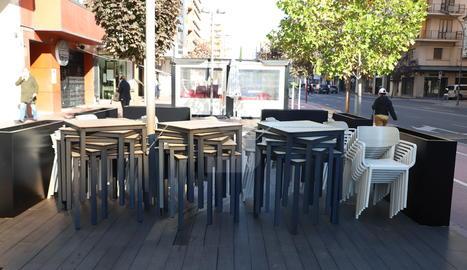 Un bar tancat aquest divendres a Lleida.