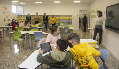 Presentació ahir del projecte finançat per BonÀrea, que formarà 1.100 alumnes de Guissona.