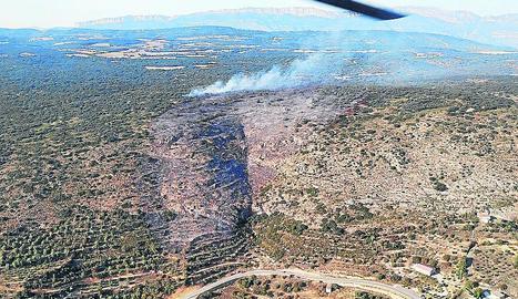 Vista de la superfície afectada en l'incendi d'ahir.