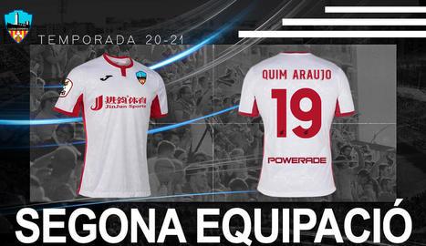 Imatge de la segona equipació del Lleida 2020-21.