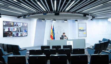 El ministre de Sanitat, Salvador Illa, en una roda de premsa telemàtica.