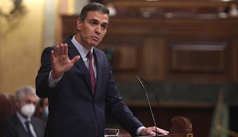 El president del Govern espanyol, Pedro Sánchez, ahir, durant la intervenció al Congrés a la moció de censura de Vox.