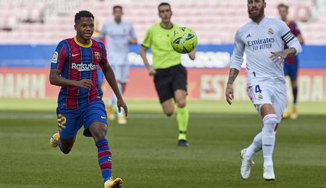 Ansu Fati, que li va guanyar la partida a Sergio Ramos en el gol, va ser el millor dels blaugranes ahir al clàssic.