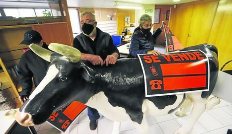 Escolà va portar ahir una gran figura d'una vaca a la delegació de la Generalitat.