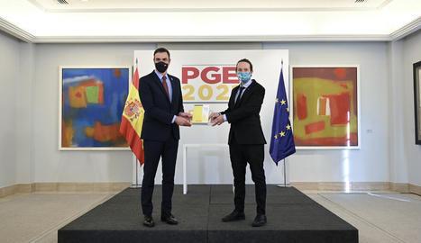 Sánchez i Iglesias, ahir, presentant el projecte de pressupostos de l'Estat per al 2021.