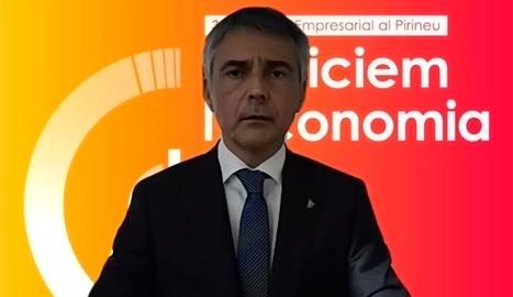 El president de la Trobada Empresarial al Pirineu, Vicenç Voltes, durant l'acte de benvinguda de la 31a edició de l'esdeveniment.