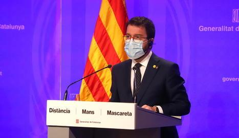 El vicepresident de la Generalitat amb funcions de president, Pere Aragonès, ahir en roda de premsa.