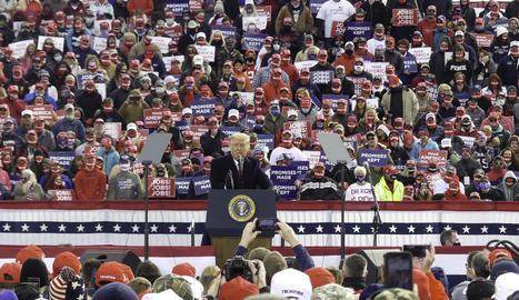 El president nord-americà, Donald Trump, dissabte, en un dels seus últims mítings de campanya.