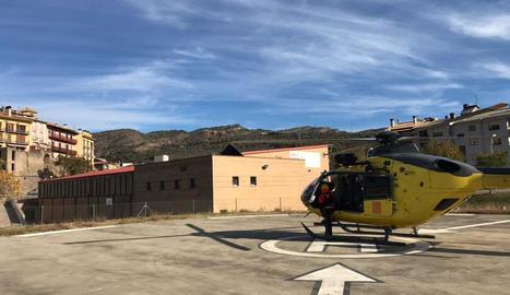 L'helicòpter dels GRAE que va rescatar ahir la jove.