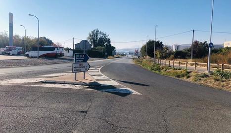 Un tram de la carretera N-211 a Fraga.