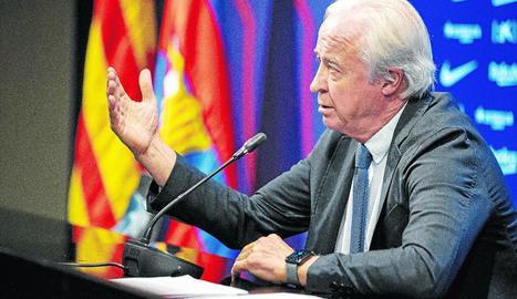 Carles Tusquets va oferir ahir una roda de premsa després de la reunió de la comissió gestora.