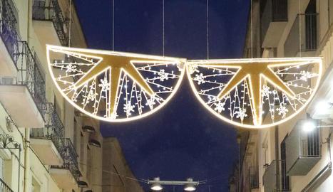 Prova d'il·luminació dels llums de Nadal de l'Eix, dimarts.