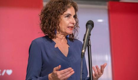 La portaveu del Govern, María Jesús Montero, ahir.