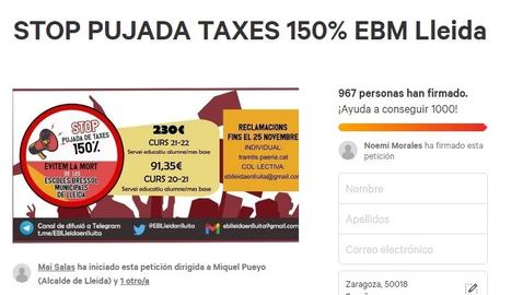 Vora 1.000 firmes contra la pujada de taxes de les escoles bressol de Lleida