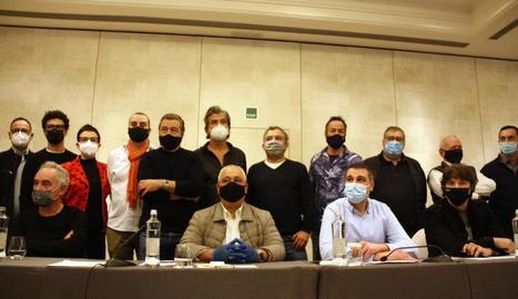 Els xefs i empresaris hotelers que es van reunir ahir a Barcelona.