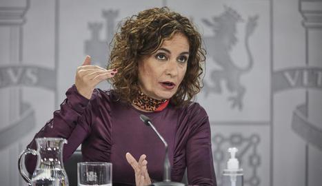 La ministra d'Hisenda, María Jesús Montero, ahir a Madrid.