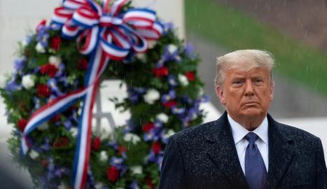 Donald Trump, ahir durant un homenatge als excombatents dels EUA el dia dels Veterans.