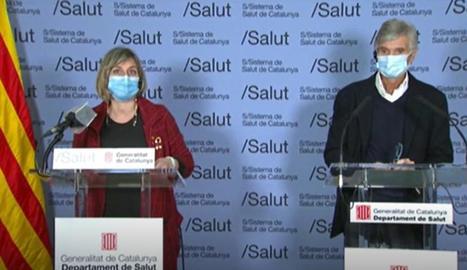 Alba Vergés i Josep Maria Argimon, durant la roda de premsa.