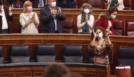 Moncloa va salvar el primer test pressupostari al Congrés amb una majoria folgada de 198 diputats.
