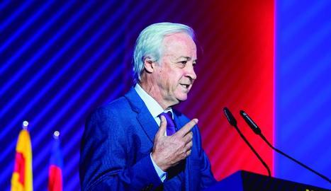 Carles Tusquets va presidir ahir la reunió de la comissió gestora del club blaugrana.