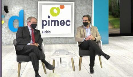 Jaume Saltó, a la dreta, va inaugurar la jornada de Pimec.
