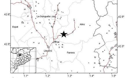 Un terratrèmol de 2,3 graus al Pallars Sobirà, lleugerament percebut