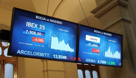 Dos pantalles mostren informació borsària al parquet madrileny després de l'obertura de la sessió aquest dimarts.