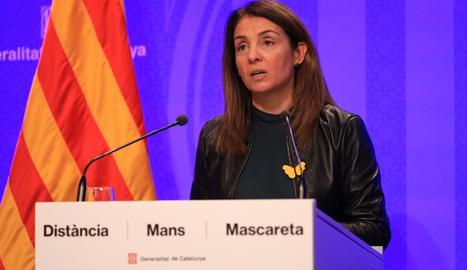 La consellera de Presidència i portaveu del Govern, Merixell Budó, durant una roda de premsa d'aquest dimarts.