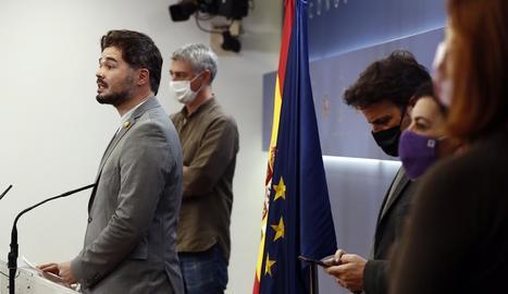 Gabriel Rufián, ahir en roda de premsa després de la junta de portaveus del Congrés dels Diputats.