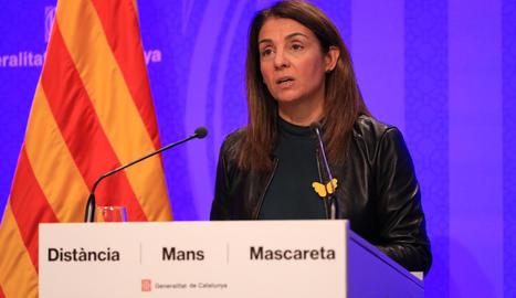 La consellera de Presidència i portaveu del Govern, Merixell Budó, durant la roda de premsa.