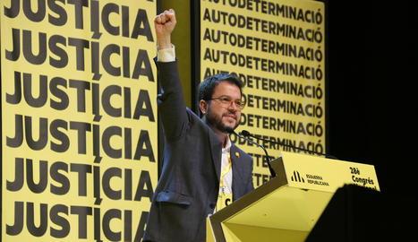 El coordinador nacional d'ERC i vicepresident del Govern, Pere Aragonès, al 28è Congrés Nacional del partit, el 21 de desembre del 2019.