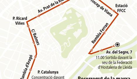 Marxa de protesta dels hostalers avui a Lleida i la Paeria ampliarà terrasses