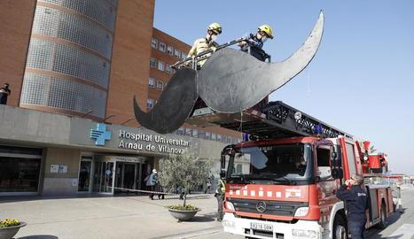 Els Bombers del parc de Lleida col·locant ahir el bigoti gegant amb un camió escala.