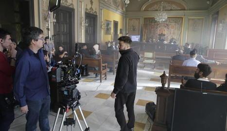 Rodatge a la Paeria de la pel·lícula 'La dona il·legal' l'abril del 2019.