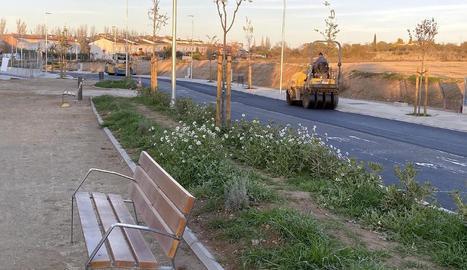 Les obres a la zona d'expansió de la zona SUD7 de Guissona, al tram final.