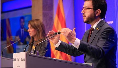 Pere Aragonès i Meritxell Budó, en la seua compareixença conjunta.