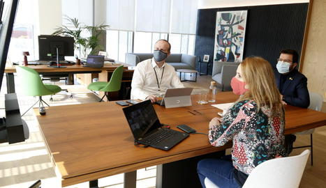 El vicepresident Aragonès, en la reunió telemàtica d'ahir.