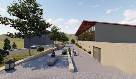 Imatge virtual de com quedarà la zona a l'entrada del poble.