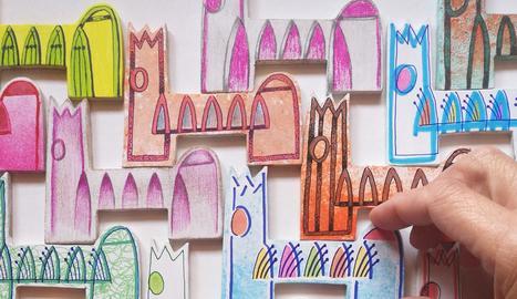 Imants de nevera inspirats en la Seu Vella, retallats i pintats a mà i firmats per l'autora