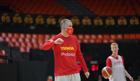 Joaquín Prado, durant l'entrenament de la selecció.