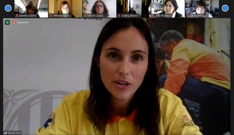 La conductora de l'acte amb motiu del 25N a Lleida, la infermera del SEM Núria Jové.