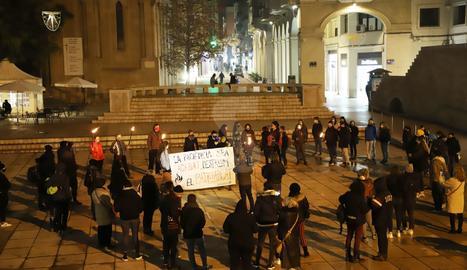 La protesta contra la violència masclista aquest dimarts a Lleida.