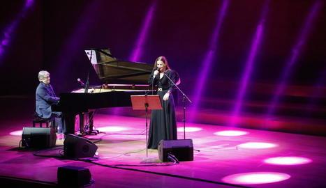 Chano Domínguez i Mariola Membrives, ahir en l'estrena del Jazz Tardor a l'Auditori de Lleida.