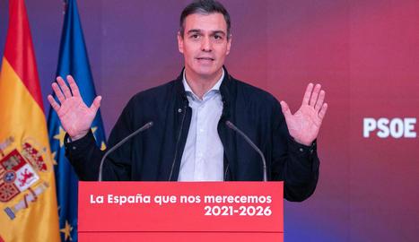 El president del Govern espanyol, Pedro Sánchez, ahir, defensant els pressupostos per al 2021.
