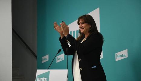 Laura Borràs, candidata de JxCat a la presidència de la Generalitat, ahir, al conèixer els resultats.