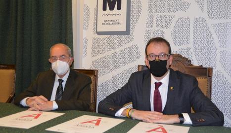Josep Maria Pujol i Marc Solsona, ahir a Mollerussa.