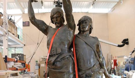 L'estàtua d'Indíbil i Mandoni al Centre de Restauració de Béns Mobles de Catalunya.